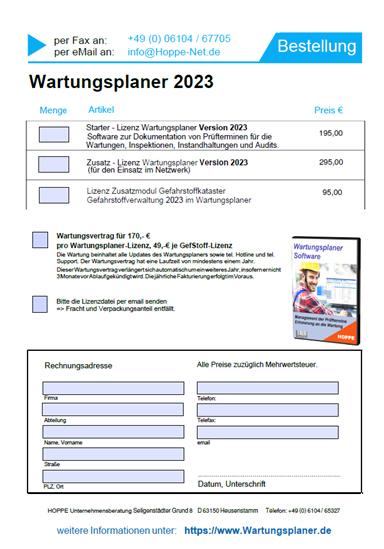 Bestellen Wartungsplaner Software Von Hoppe Bestellformular