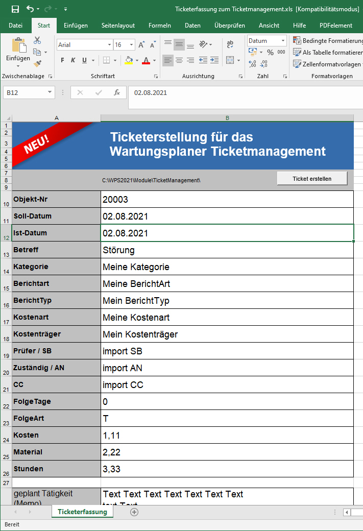 Ticketmanager , Ticketverwaltung